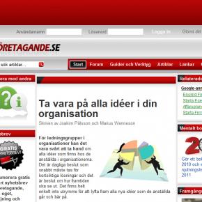 Skärmdump från företagande.se
